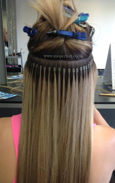 Micro ring hair extensions at too perfect above micro rings being fitted in our salon pmusecretfo Images